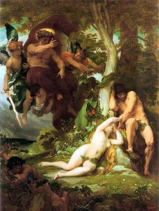 The Expulsion of Adam and Eve from the Garden of Paradise, by Alexandre Cavanel (1823-1889)